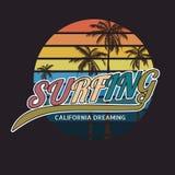 Оформление прибоя Калифорнии, графики футболки, формат eps вектора Стоковые Изображения RF