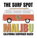 Оформление прибоя Malibu, графики футболки, векторы Стоковое фото RF
