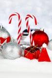 Оформление рождества на снеге Стоковая Фотография