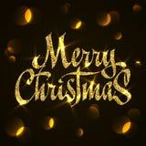 Оформление рождества яркого блеска золота, почерк С Рождеством Христовым поздравительная открытка с bokeh иллюстрация вектора