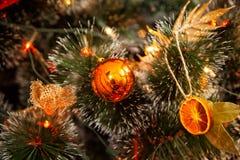 Оформление рождественской елки с высушенным апельсином Стоковая Фотография
