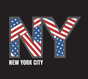 Оформление флага Нью-Йорка, графики футболки Стоковые Изображения