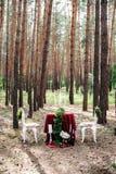 Оформление weeding Украшенная таблица, который служат для 2 в сосновом лесе Стоковые Изображения
