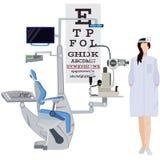 Офтальмолог и иллюстрация офтальмического вектора оборудования плоская Стоковая Фотография RF