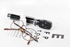 Офтальмоскоп, испытание глаза и стекла Стоковая Фотография RF