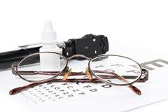 Офтальмоскоп, испытание глаза и стекла Стоковое Фото