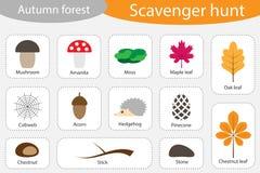 Охота на мусор, лес осени, различные красочные изображения осени для детей, игры поиска для детей, развития образования потехи fo иллюстрация вектора