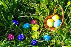 Охота пасхального яйца на предпосылке зеленой травы Стоковое Изображение