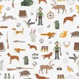 Охотиться безшовная картина Звероловство собаки, оборудование Плоский стиль иллюстрация вектора