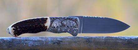 Охотиться карманный нож при дикие кабаны гравируя Стоковые Изображения RF