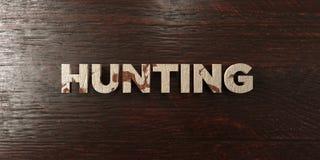 Охотиться - grungy деревянный заголовок на клене - 3D представил изображение неизрасходованного запаса королевской власти Стоковые Изображения