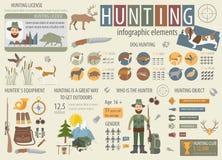 Охотиться infographic шаблон Звероловство собаки, оборудование, statistica иллюстрация штока