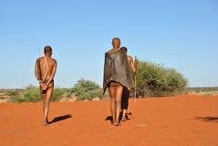 Охотники бушменов, пустыня Kalahari, Намибия Стоковые Изображения