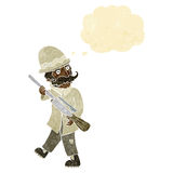 охотник важной игры шаржа с пузырем мысли Стоковое Изображение RF