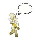 охотник важной игры шаржа с пузырем мысли Стоковые Изображения RF