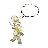 охотник важной игры шаржа с пузырем мысли Стоковое Изображение