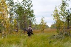 Охотник идя на glade Стоковые Фото