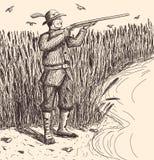 Охотник нарисованный рукой Стоковые Изображения