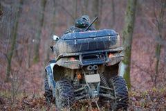 Охотник на ATV в лесе Стоковое Изображение