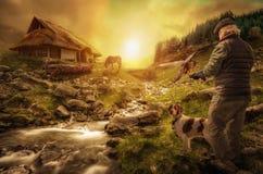 Охотник с птицей стоковая фотография rf