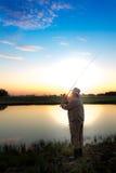Охотник Pike на реке Стоковое Фото