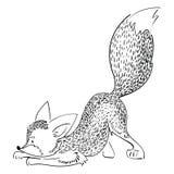 Охоты лисы шаржа Играют стилизованную лису Иллюстрация вектора для детей Черно-белый рисовать вручную одичало иллюстрация вектора