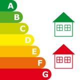 Оценка выхода по энергии и значок дома иллюстрация вектора