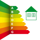 Оценка выхода по энергии и значок дома иллюстрация штока