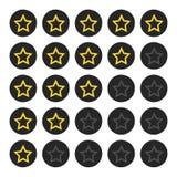 Оценка звезды Изолированный вокруг грубых значков Нарисовано вручную Grunge, плоский, щетка иллюстрация штока