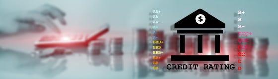 Оценка кредитоспособности Концепция вклада банка финансов Знамя заголовка вебсайта стоковые изображения