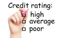 Оценка кредитоспособности, розовая отметка стоковые изображения rf