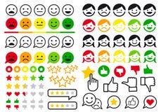 Оценка, обзор, emoji потребителя, плоские значки, комплект вектора стоковые изображения