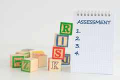 Оценка степени риска или план организационной деятельности стоковое фото rf