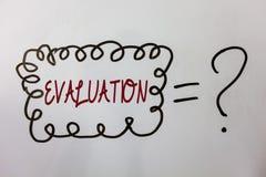 Оценка текста сочинительства слова Концепция дела для обратной связи суждения оценивает качественное представление что-то сообщен Стоковое Изображение