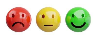 Оценка удовлетворения клиента с переводом smiley 3D иллюстрация вектора