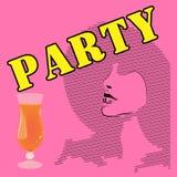 Очарование, партия коктеиля Эскиз женщины в шляпе Рогульки, визитные карточки, рогульки, карточки клуба Стоковые Фото