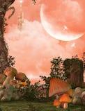 Очаровательные волшебные Fairy древесины и замок иллюстрация вектора