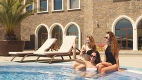 Очаровательные подруги в модных различных костюмах заплыва и eyewear солнца защищая акции видеоматериалы