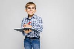 Очаровательный мальчик с vkletchatoy рубашкой и джинсами света стоит на серой предпосылке Мальчик держит тетрадь и ручку Стоковые Изображения RF