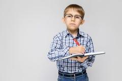 Очаровательный мальчик с vkletchatoy рубашкой и джинсами света стоит на серой предпосылке Мальчик держит тетрадь и ручку Стоковая Фотография RF