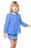 Очаровательная девушка в голубом платье Стоковая Фотография