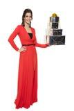 Очаровательная женщина держа много подарков счастливое Новый Год стоковые фотографии rf