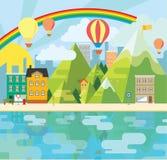 Очаровательная и жизнерадостная графическая иллюстрация города Стоковое Изображение