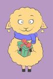 очаровательная овечка с присутствующей иллюстрацией вектора Стоковое Изображение RF