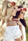 Очаровательные девушки в элегантных платьях и держателе цветка Стоковое фото RF