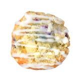 Очень вкусная булочка голубики от взгляд сверху изолированная на белом Backg Стоковая Фотография