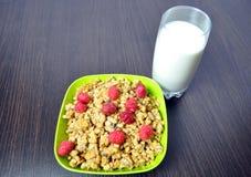 Очень вкусная, здоровая еда - granola с плодоовощами и молоко Стоковое Изображение RF