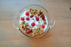 Очень вкусная, здоровая еда - granola с плодоовощами и молоко Стоковое Изображение