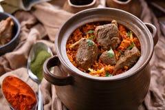 Очень вкусная индийская овечка biryani dum Стоковая Фотография RF