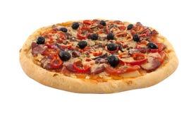 Очень вкусная итальянская пицца при изолированные томаты и перец Стоковая Фотография